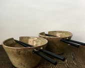 Set of Two Ceramic Rice Bowls Cream Rustic with Chopstick Holders Stoneware Pottery
