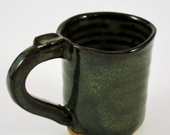 Square Mug with Thumb Rest Rustic Green Wheel Thrown Clay Pottery Ready To Ship
