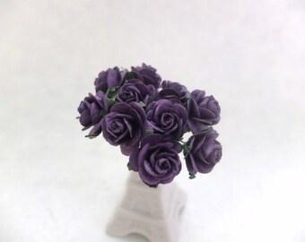20mm dark purple mulberry roses - 2cm paper rose