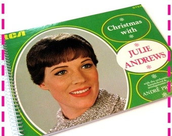 SALE 40% OFF--- CHRISTMAS with Julie Andrews Timecycled / Recycled / Upcycled Record Album Cover Retro Journal Notebook - Vintage Circa 1966