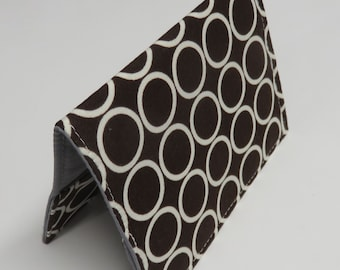 Passport Cover Case Holder Vacation Cruise Travel Holiday - Travel - White Circles on Chocolate Brown Fabric