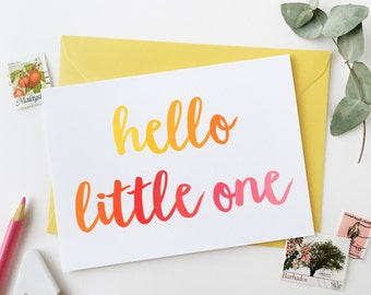Hello Little One New Baby Card - Yellow And Pink Typography - New Baby Card - New Born Card – Newborn Greetings Card – Newborn Keepsake