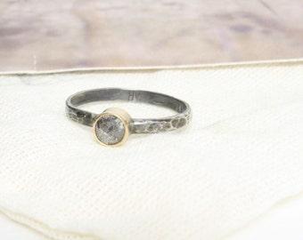 Natural Silver-Grey Rose Cut Diamond Ring Engagement 14k Gold Mixed Metal Rustic