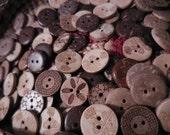 "25/50 Unique Design Coconut buttons MIXED Floral and Geometric designs 5/8"""