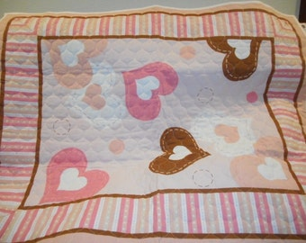 MadieBs Pink and Brown Loving Hearts Crib  Quilt  Custom