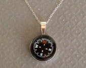 Working Compass Necklace Black Dial  Traveler Adventurer Sterling Silver Setting Free Shipping Gift for Her Change in Direction