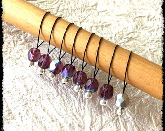 Snag Free Stitch Markers Large Set of 8-- Amethyst Faceted Czech Glass -- N93 -- For up to size US 17 (12.75mm) Knitting Needle