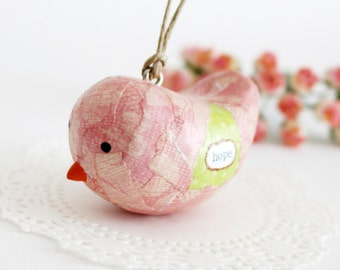 Hope. Handmade Bird Ornament.