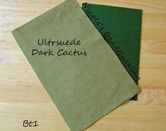 Ultrasuede with Free Nicoles BeadBacking Dark Cactus Leaf Green  Bt1