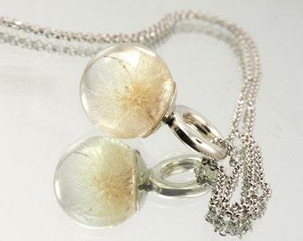 Unique Dandelion Pendant, Silver and Resin Jewellery, Romantic Necklace, Bridal Jewellery