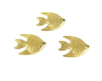 Brass Tropical Fish Charm (8X) (M854)
