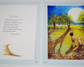 Original Vintage Illustration 1984 Tree Shadows with Poem Double Page Layout Ephemera Wall Decor Paper Supplies