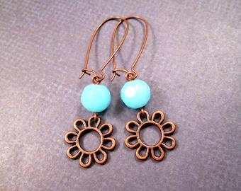 Flower Earrings, Blue Glass and Copper Earrings, Long Dangle Earrings, FREE Shipping U.S.