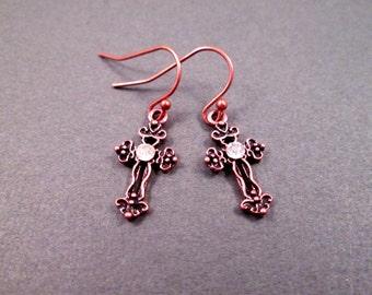 Celtic Cross Earrings, White Glass Rhinestone Centers, Copper Dangle Earrings, FREE Shipping U.S.