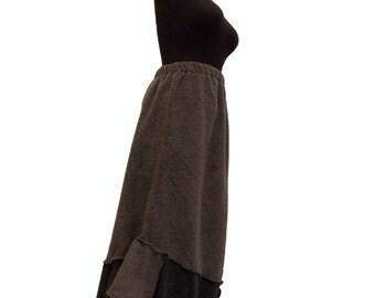 Asymmetric Color Block Sweater Fleece Skirt L/XL Large Handmade Ready to ship