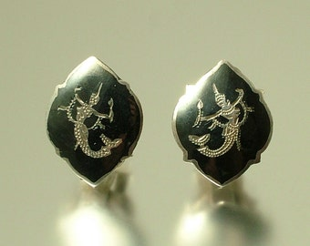 Vintage/ estate 1970s Siam / Thailand sterling silver and niello, Goddess, clip on, stud earrings