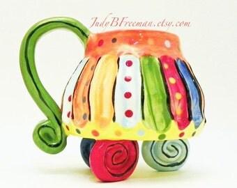 Ceramic Mug Striped Whimsical 8-10 Ounces Made to Order MG0037