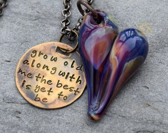 Purple Glass Heart Pendant, Boro Lampwork Necklace, Handmade Glass Jewelry - Grow Old Along With Me
