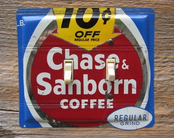 Light Switch Cover Plate Switchplate 1960s Style Kitchen Antique Farmhouse Decor Double Toggle Made From Chase & Sanborn Coffee Tins SP-0111