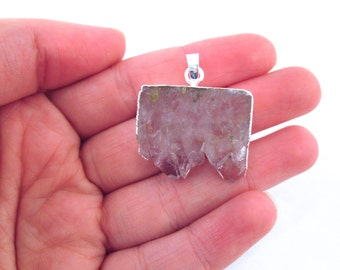 Amethyst Druzy Slice Pendant, Silver Plated Pendant #8 A236