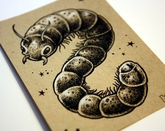 Worm original ACEO ink and pencil drawing by Bryan Collins