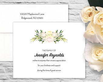 Roses Swag Sympathy Flat Card with Printed Envelope - White