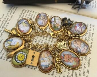 Alice in Wonderland Charm Bracelet, Alice in Wonderland, Alice Charm Bracelet, Alice Charms, Charm Bracelet,Gold Charm Bracelet,Gift for Her