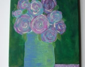 """RESERVED for Karen B-original ooak abstract floral bouquet acrylic painting, purples, pinks, greens-11"""" x 14"""", 1/2"""" deep, ready to hang"""