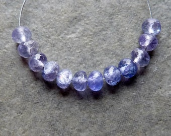 AAA TANZANITE Faceted Rondelle Beads -  4mm - 12 Bead Packet