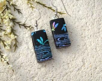Dragonfly Earrings,Rainbow, Dichroic Earrings, Dangle Drop Earring, Fused Glass Jewelry, Dichroic Earring, Sterling Silver, OOAK, 042016e100