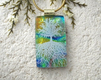 Tree of Life, Fused Glass Jewelry, Dichroic Pendant, Dichroic Jewelry, Rooted Tree, Blue Green Rainbow, Nature Tree, Gold Chain,061216p108