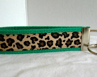 Cheetah Key Chain -Cheetah Key Fob - Wristlet - Cheetah on GREEN Key Ring