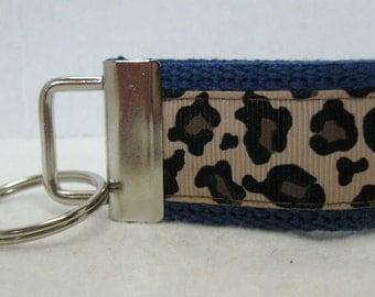 Mini Key Fob -Leopard Key Chain - BLUE - Animal Print Key Chain - Cheetah Zipper Pull -Blue  Cheetah Key Ring - Small Keychain