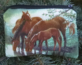 Horse Coin Purse, credit card pouch, gift card pouch, stitch marker pouch, milk money pouch, Horse Meadow, The Raven