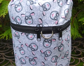 knitting bag, drawstring bag, knitting in public bag, small project bag, Sheep Tangle, Kipster