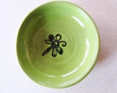 Wee Dish - Ring Holder, Trinket Dish or Coin Dish  - Spring Time Green Pottery Ring Dish