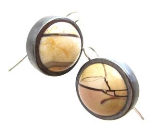 Mookaite Jasper and Sterling Silver Drop Earrings, cream and brown earrings, circular earrings
