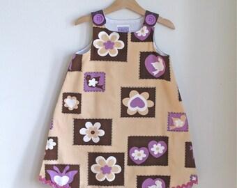 Bird, Butterfly, and Flower Patchwork Purple & Tan Girls' Dress - Sizes Newborn to Girls Size 6 - Girl's 70s retro flower power dress