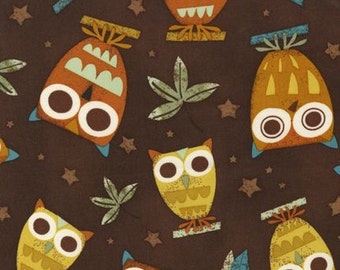 On a Whim Owls on Earth Brown OOP Fabric - Half Yard