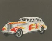 Cruising.  Original paper collage by Vivienne Strauss.