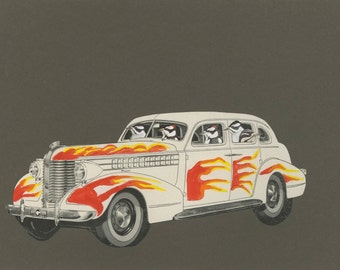 Cruising.  Original paper collage by Vivienne Strauss.