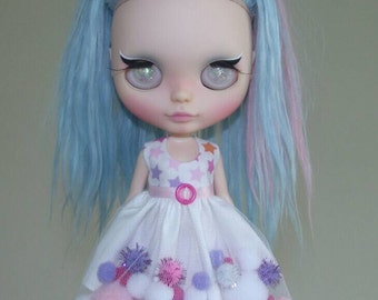 Pink and Purple pom-pom dress for Blythe and Pullip