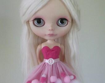 Pink Confection pom-pom dress for Blythe and Pullip