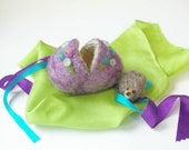 Easter Egg Toy: Sweet Something in 'Plummy' (Silk and Wool Hollow Egg with Playsilk and Hedgehog)