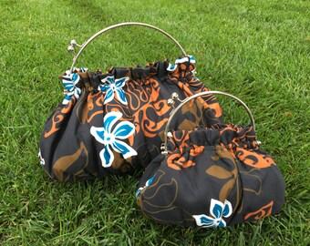 Purse in Polynesian Tribal & Teal Plumeria / Frangipani Floral Design