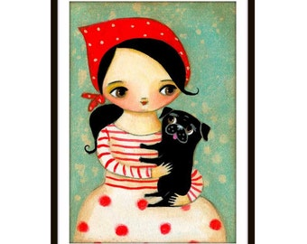 Black Pug Dog with Babushka PRINT poster of painting Cute pug art little girl with puppy dog by Tascha