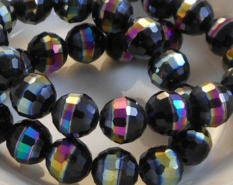 Faceted Rainbow AB Round Crystal Beads (5 Color Choices) 6 pcs 10mm PH-FR10mm-BLK