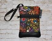 Wristlet Cell Phone Bag - Small Crossbody Bag - iPhone Belt Purse - Cross Body Purse - Wristlet or Belt Bag - Zippered - Happy Fabric