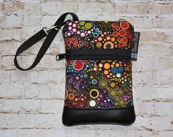 Wristlet Cell Phone Bag - Small Crossbody Bag - iPhone Belt Purse - Cross Body Purse - Wristlet or Belt Bag - Zippered - Happy Fabric