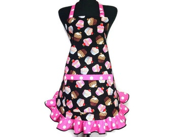 Retro Cupcake Apron, adjustable with Pink and white polka dot ruffle, Bakery / Kitchen Decor